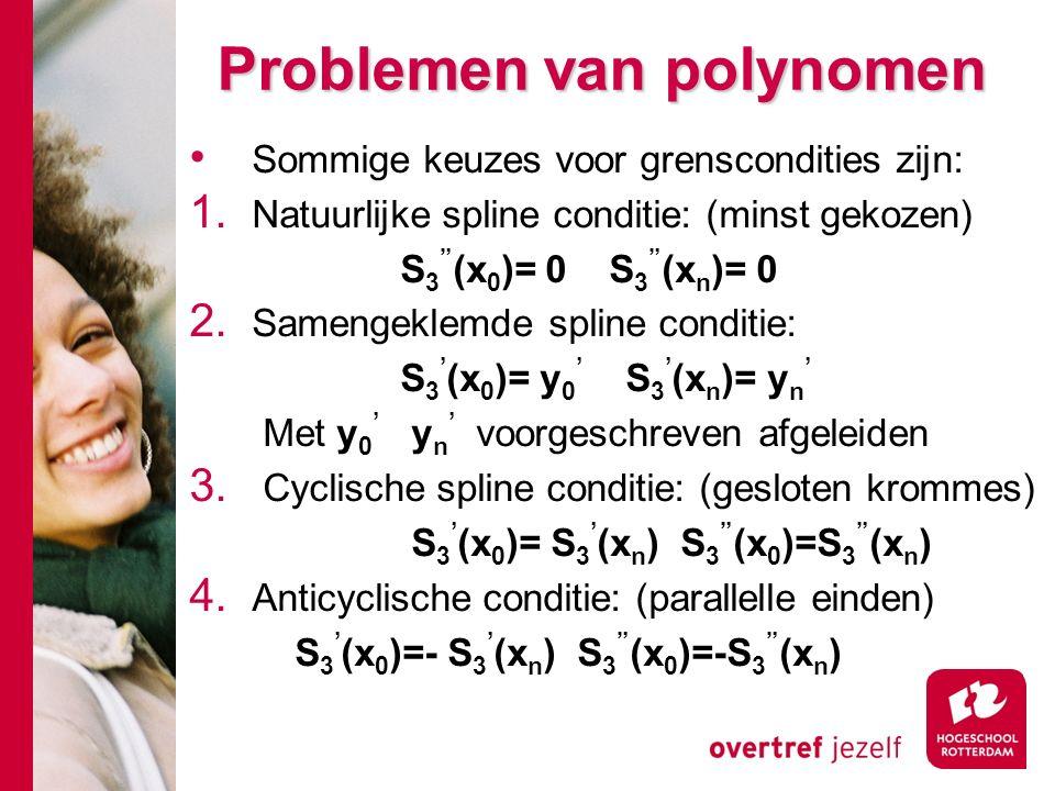 Problemen van polynomen Sommige keuzes voor grenscondities zijn: 1.