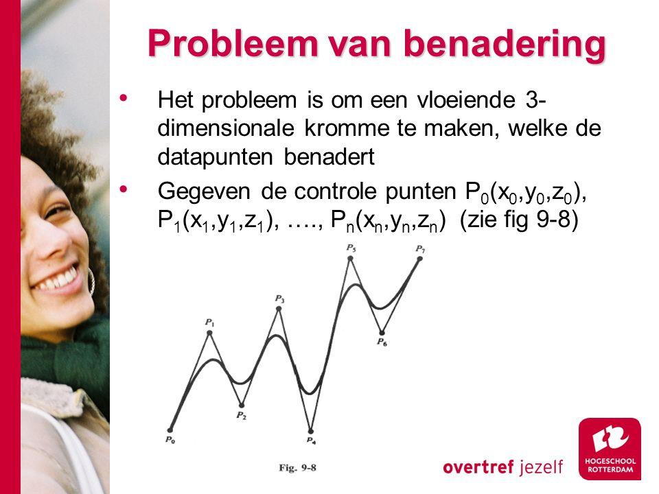 Probleem van benadering Het probleem is om een vloeiende 3- dimensionale kromme te maken, welke de datapunten benadert Gegeven de controle punten P 0 (x 0,y 0,z 0 ), P 1 (x 1,y 1,z 1 ), …., P n (x n,y n,z n ) (zie fig 9-8)