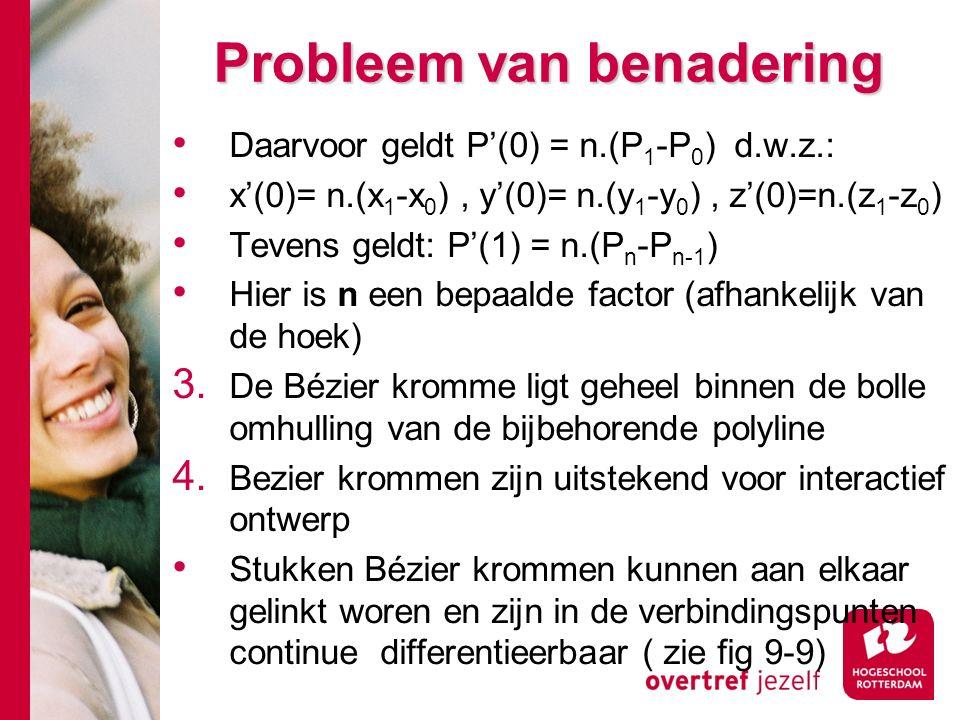 Probleem van benadering Daarvoor geldt P'(0) = n.(P 1 -P 0 ) d.w.z.: x'(0)= n.(x 1 -x 0 ), y'(0)= n.(y 1 -y 0 ), z'(0)=n.(z 1 -z 0 ) Tevens geldt: P'(1) = n.(P n -P n-1 ) Hier is n een bepaalde factor (afhankelijk van de hoek) 3.