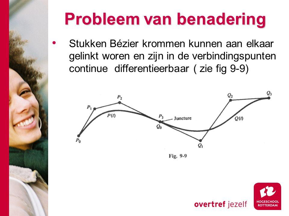 Probleem van benadering Stukken Bézier krommen kunnen aan elkaar gelinkt woren en zijn in de verbindingspunten continue differentieerbaar ( zie fig 9-9)