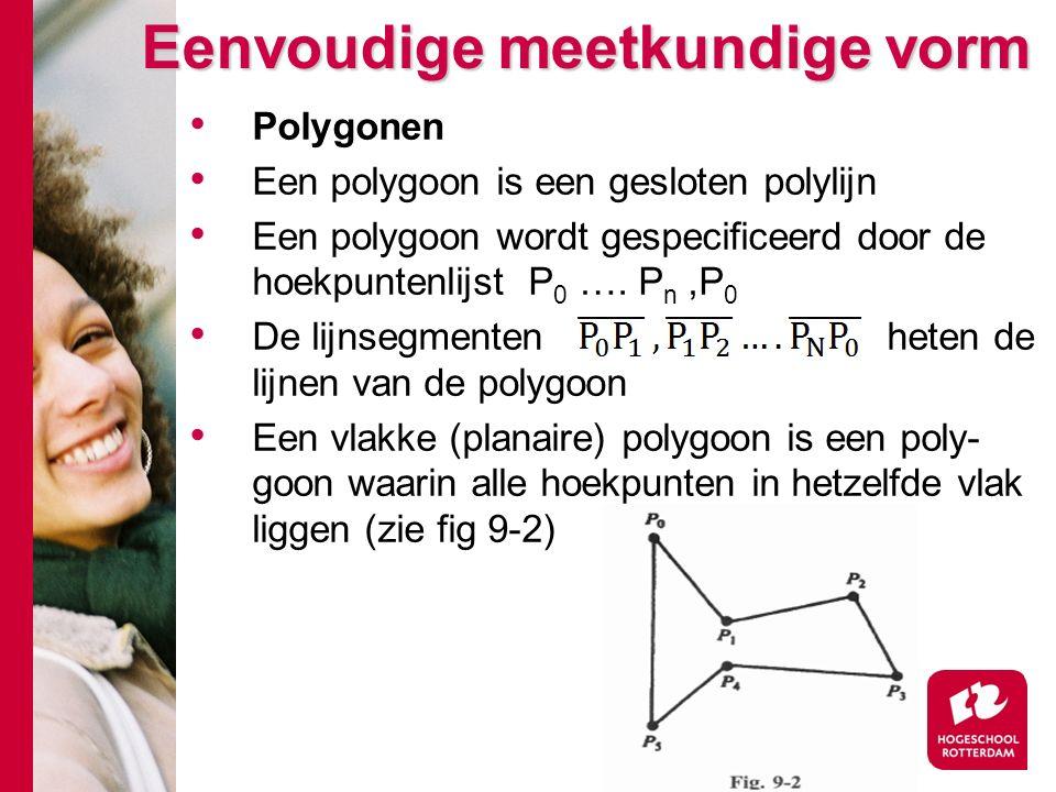 Eenvoudige meetkundige vorm Polygonen Een polygoon is een gesloten polylijn Een polygoon wordt gespecificeerd door de hoekpuntenlijst P 0 ….