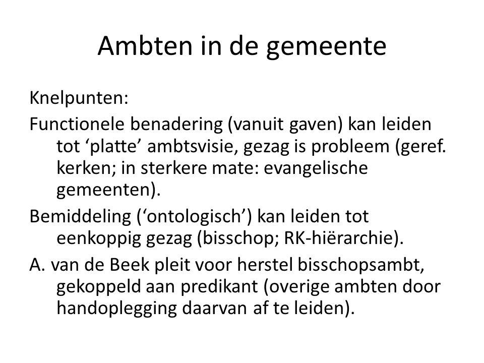 Ambten in de gemeente Knelpunten: Functionele benadering (vanuit gaven) kan leiden tot 'platte' ambtsvisie, gezag is probleem (geref. kerken; in sterk