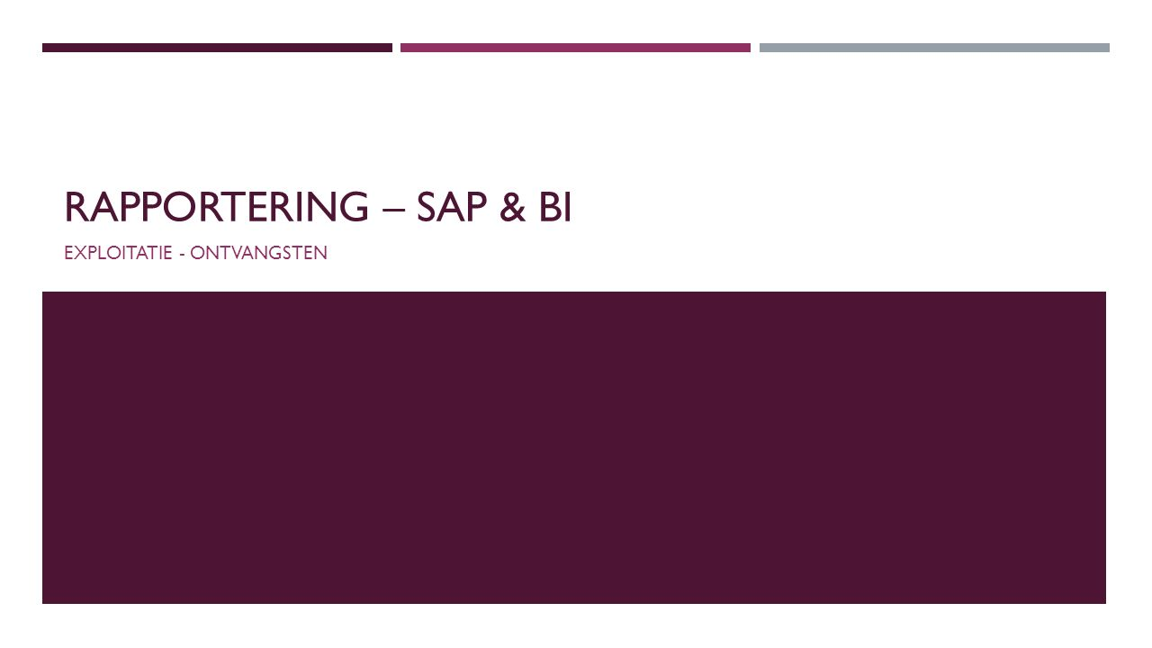 RAPPORTERING – SAP & BI EXPLOITATIE - ONTVANGSTEN