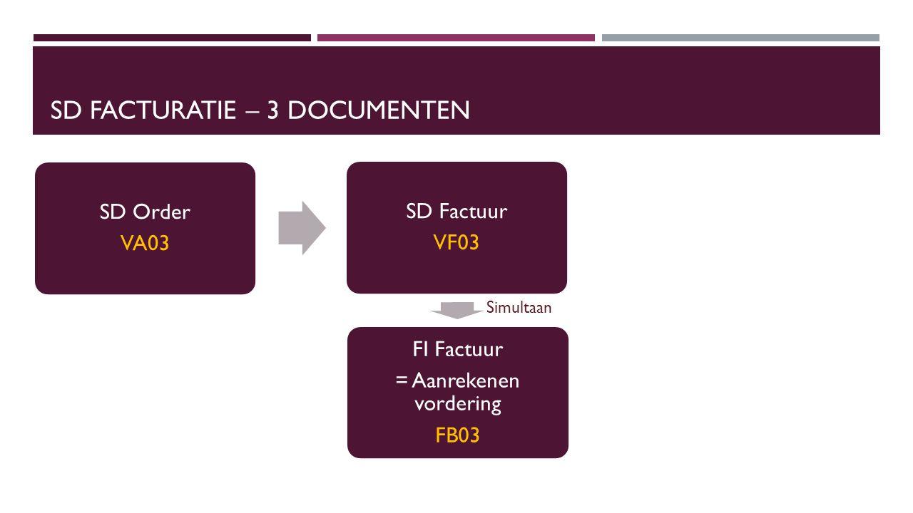 SD FACTURATIE – 3 DOCUMENTEN SD Order VA03 SD Factuur VF03 FI Factuur = Aanrekenen vordering FB03 Simultaan