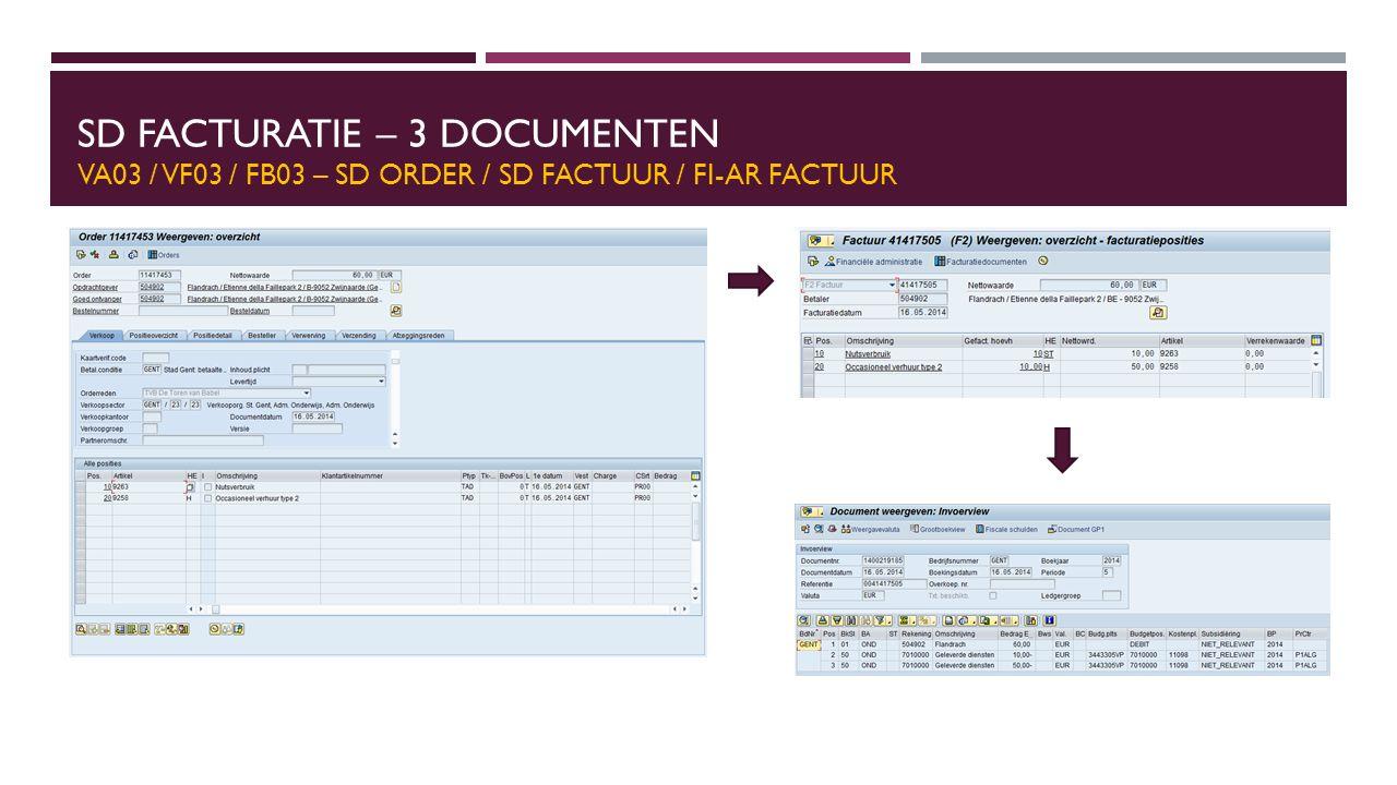 SD FACTURATIE – 3 DOCUMENTEN VA03 / VF03 / FB03 – SD ORDER / SD FACTUUR / FI-AR FACTUUR