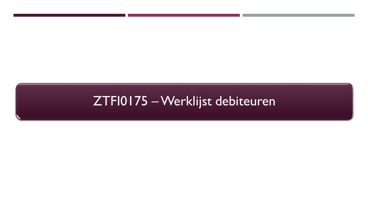 ZTFI0175 – Werklijst debiteuren