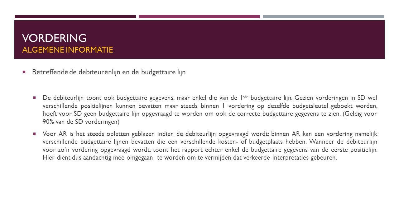VORDERING ALGEMENE INFORMATIE  Betreffende de debiteurenlijn en de budgettaire lijn  De debiteurlijn toont ook budgettaire gegevens, maar enkel die van de 1 ste budgettaire lijn.