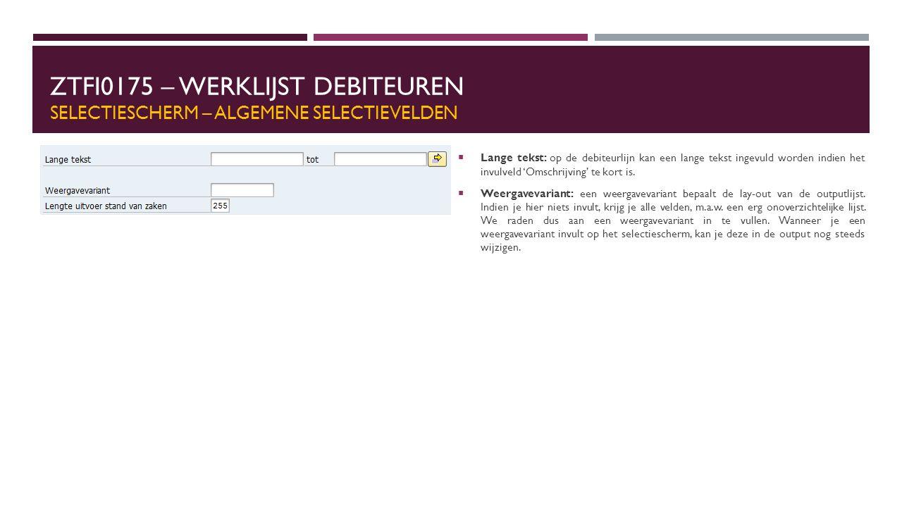 ZTFI0175 – WERKLIJST DEBITEUREN SELECTIESCHERM – ALGEMENE SELECTIEVELDEN  Lange tekst: op de debiteurlijn kan een lange tekst ingevuld worden indien het invulveld 'Omschrijving' te kort is.