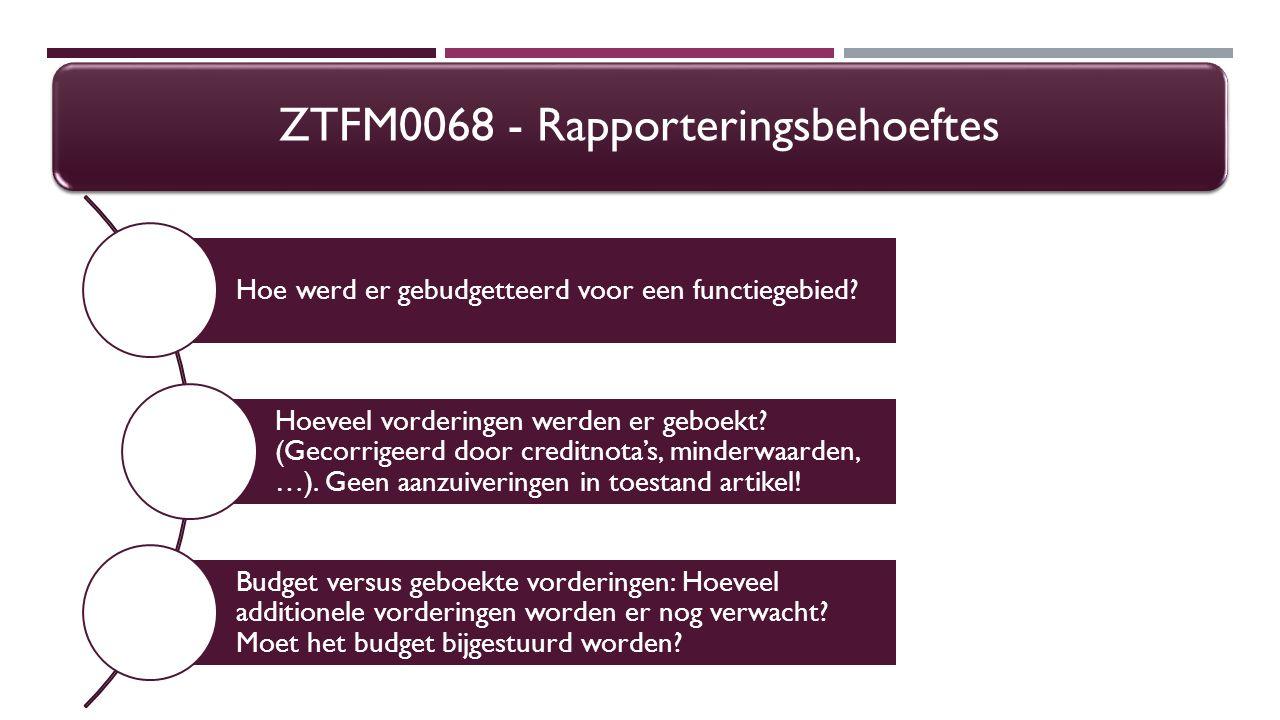 ZTFI0175 – WERKLIJST DEBITEUREN SELECTIESCHERM – BUDGETTAIRE LIJN – SD GEGEVENS  De selectievelden van de budgettaire lijn zijn dezelfde als die van de debiteurenlijn, maar in de output krijg je bij aanvlaggen van 'Ook Sd gegevens' voor alle positielijnen / budgettaire lijnen in de kolommen :  Artikel: het(de) verkoopartikelnummer(s ) van het SD-order  Omschrijving artikel: de omschrijving van het (de) verkoopartikelnummer(s ) van het SD-order  In het selectiescherm krijg je ook het selectieveld 'Verkoopsartikel' waar je per verkoopsartikel een rapport kan opvragen of voor welbepaalde verkoopsartikelen.