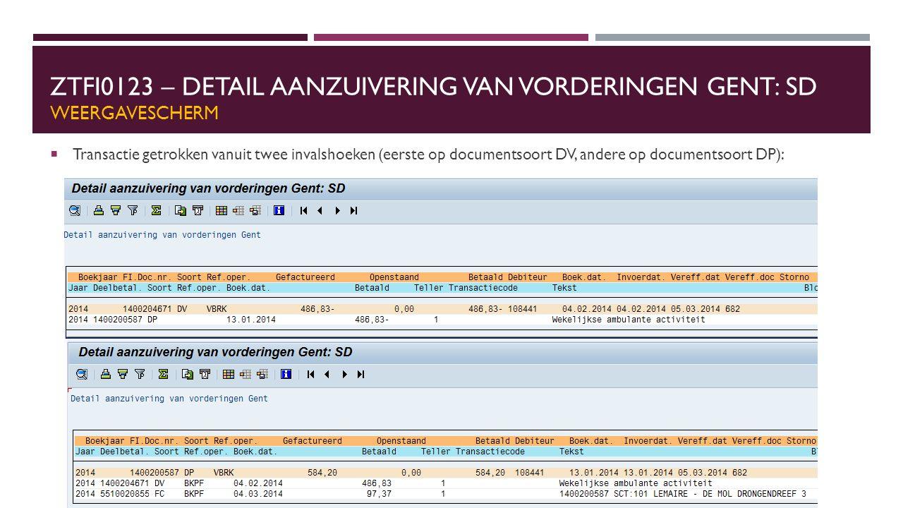 ZTFI0123 – DETAIL AANZUIVERING VAN VORDERINGEN GENT: SD WEERGAVESCHERM  Transactie getrokken vanuit twee invalshoeken (eerste op documentsoort DV, andere op documentsoort DP):