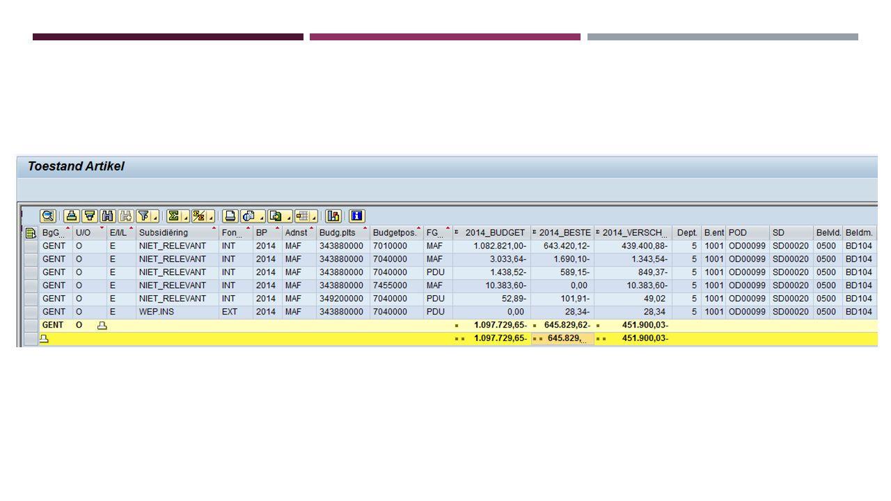 ZTFI0123 – DETAIL AANZUIVERING VAN VORDERINGEN GENT: SD GEBRUIK  Via dit rapport kan je voor een bepaalde SD-dienst de FI-facturen (DP) opvragen met een detail van de aanzuiveringen :  Ontvangsten (FC: Via financiële rekening / FI: Cash-betaling aan loket stadssecretaris)  Minwaarden (OP: minderwaarden / DV: creditnota's verminderingen)