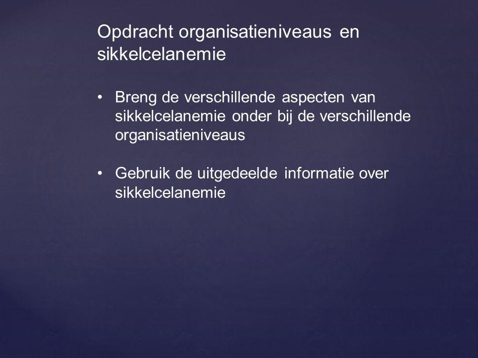 Opdracht organisatieniveaus en sikkelcelanemie Breng de verschillende aspecten van sikkelcelanemie onder bij de verschillende organisatieniveaus Gebru