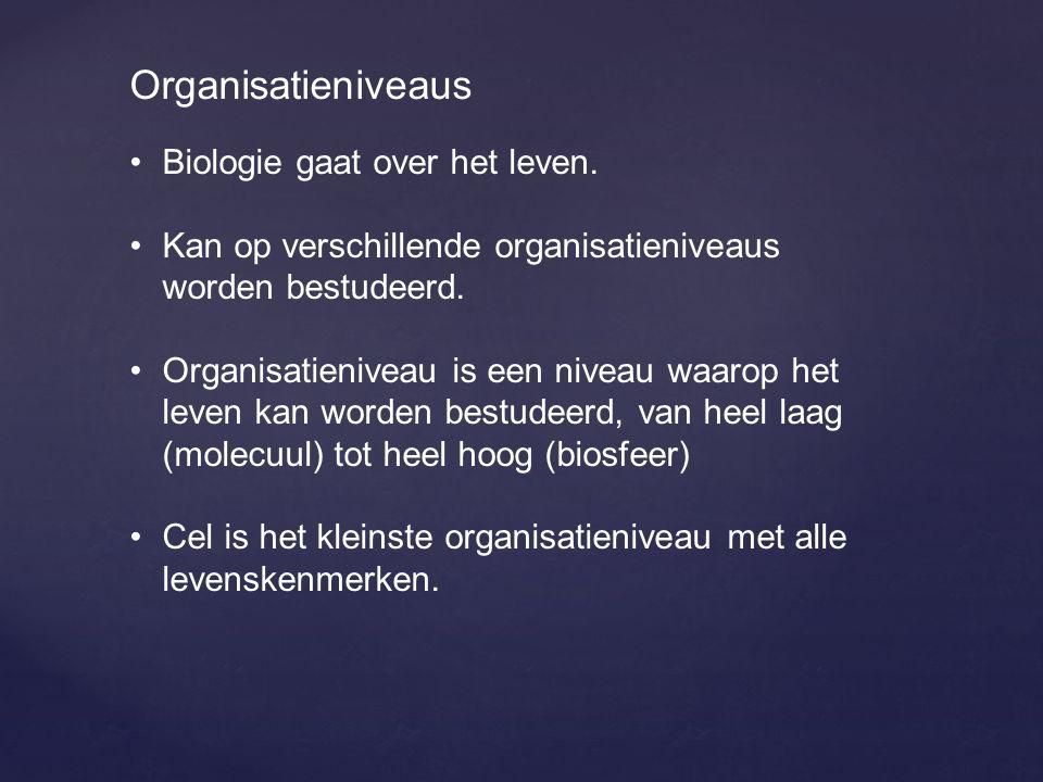 Organisatieniveaus Biologie gaat over het leven. Kan op verschillende organisatieniveaus worden bestudeerd. Organisatieniveau is een niveau waarop het