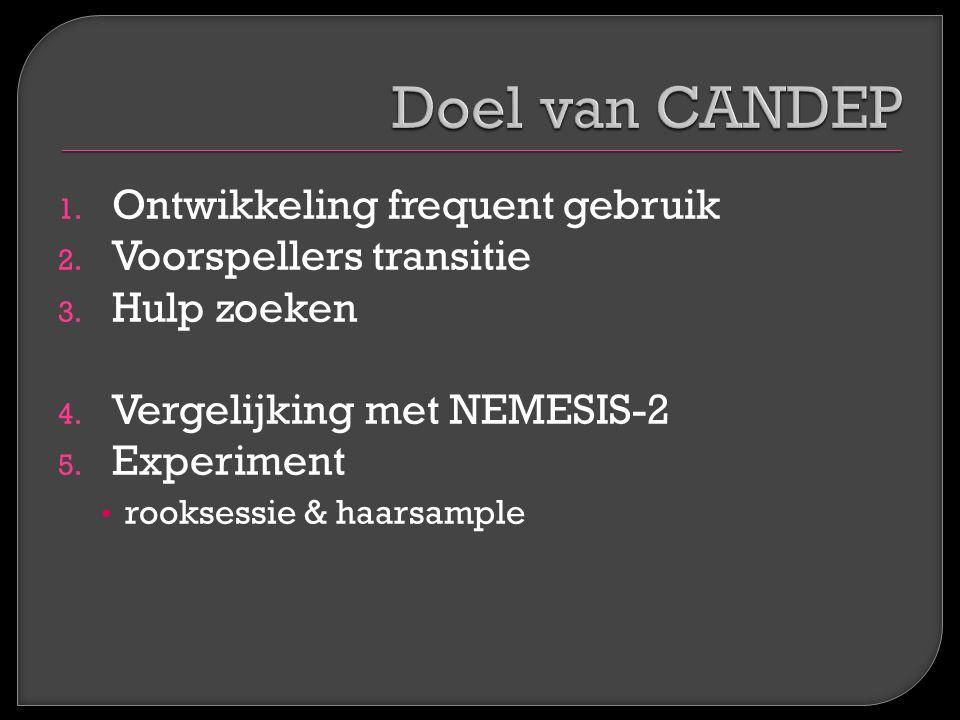 1. Ontwikkeling frequent gebruik 2. Voorspellers transitie 3. Hulp zoeken 4. Vergelijking met NEMESIS-2 5. Experiment rooksessie & haarsample