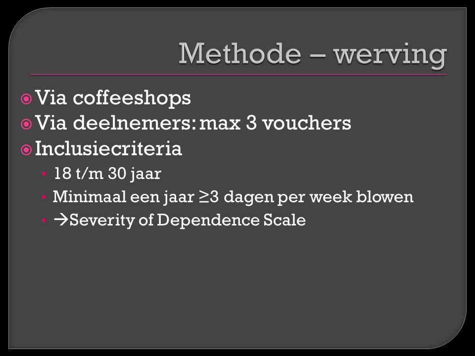  Via coffeeshops  Via deelnemers: max 3 vouchers  Inclusiecriteria 18 t/m 30 jaar Minimaal een jaar ≥3 dagen per week blowen  Severity of Dependen