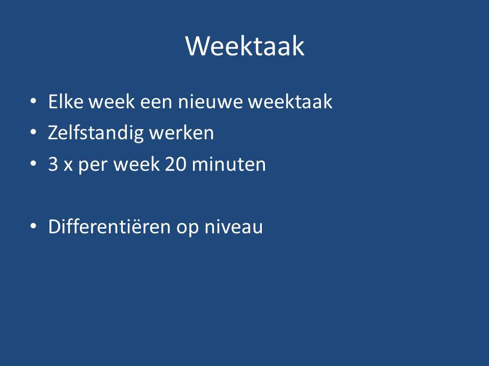 Weektaak Elke week een nieuwe weektaak Zelfstandig werken 3 x per week 20 minuten Differentiëren op niveau