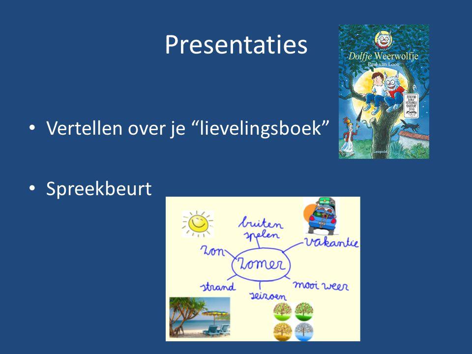 Presentaties Vertellen over je lievelingsboek Spreekbeurt