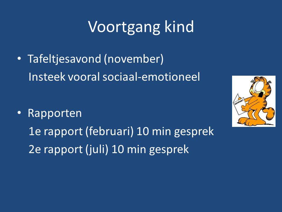 Voortgang kind Tafeltjesavond (november) Insteek vooral sociaal-emotioneel Rapporten 1e rapport (februari) 10 min gesprek 2e rapport (juli) 10 min gesprek