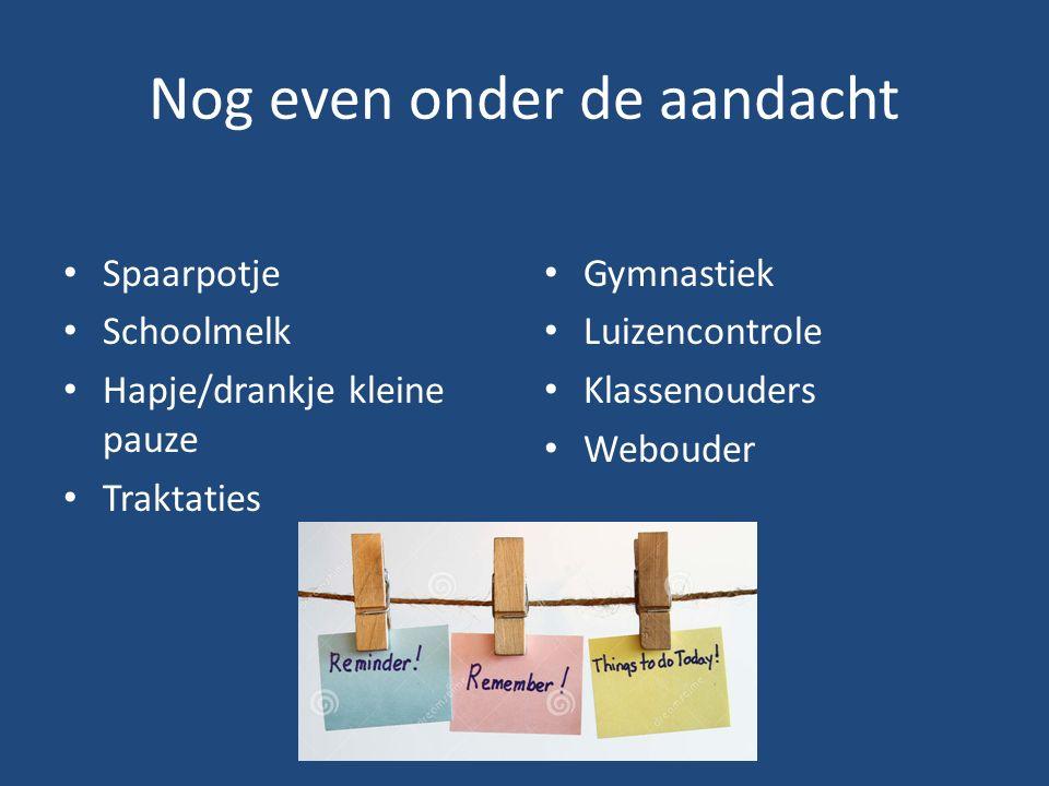 Nog even onder de aandacht Spaarpotje Schoolmelk Hapje/drankje kleine pauze Traktaties Gymnastiek Luizencontrole Klassenouders Webouder