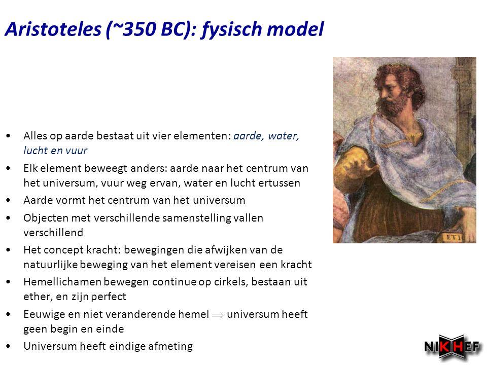 Copyright (C) Vrije Universiteit 2009 Aristoteles (~350 BC): fysisch model Alles op aarde bestaat uit vier elementen: aarde, water, lucht en vuur Elk