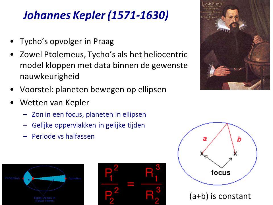 Johannes Kepler (1571-1630) Tycho's opvolger in Praag Zowel Ptolemeus, Tycho's als het heliocentric model kloppen met data binnen de gewenste nauwkeurigheid Voorstel: planeten bewegen op ellipsen Wetten van Kepler –Zon in een focus, planeten in ellipsen –Gelijke oppervlakken in gelijke tijden –Periode vs halfassen (a+b) is constant Copyright (C) Vrije Universiteit 2009