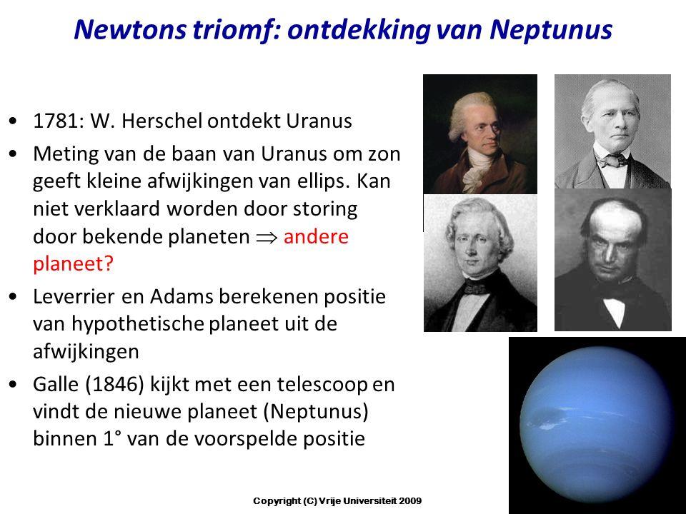 Newtons triomf: ontdekking van Neptunus 1781: W. Herschel ontdekt Uranus Meting van de baan van Uranus om zon geeft kleine afwijkingen van ellips. Kan