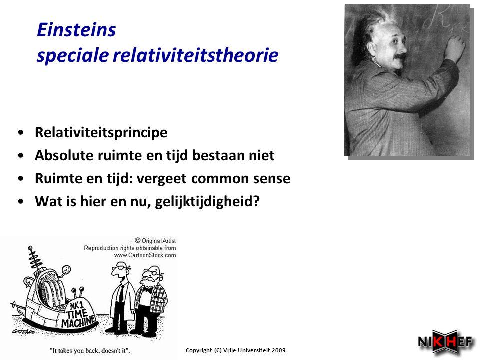 Einsteins speciale relativiteitstheorie Relativiteitsprincipe Absolute ruimte en tijd bestaan niet Ruimte en tijd: vergeet common sense Wat is hier en