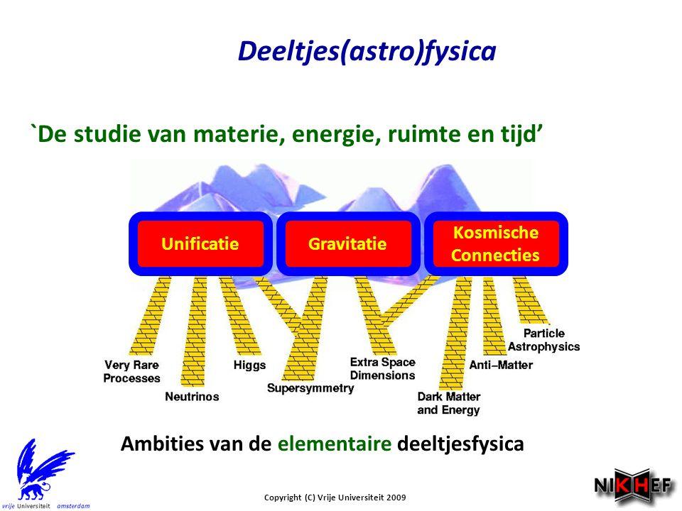 Copyright (C) Vrije Universiteit 2009 Deeltjes(astro)fysica `De studie van materie, energie, ruimte en tijd' Ambities van de elementaire deeltjesfysica UnificatieGravitatie Kosmische Connecties