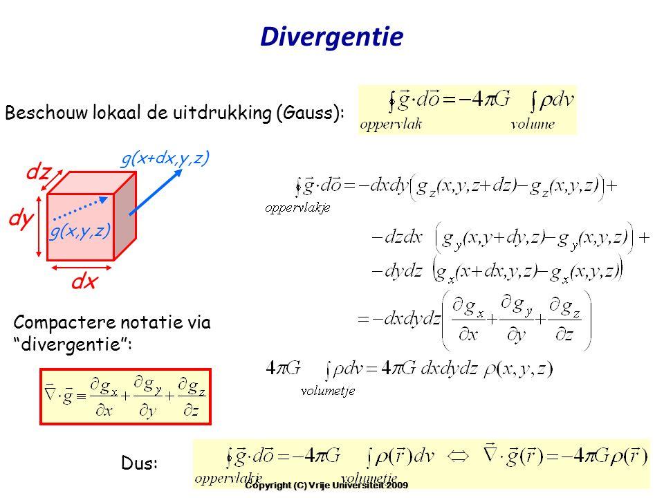 """Compactere notatie via """"divergentie"""": Dus: dx dy g(x+dx,y,z) dz g(x,y,z) Beschouw lokaal de uitdrukking (Gauss): Divergentie Copyright (C) Vrije Unive"""