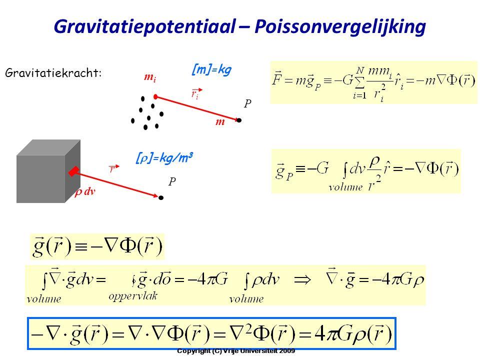 mimi riri [m]=kg P Gravitatiekracht: m r  dv [  ]=kg/m 3 P Gravitatiepotentiaal – Poissonvergelijking Copyright (C) Vrije Universiteit 2009