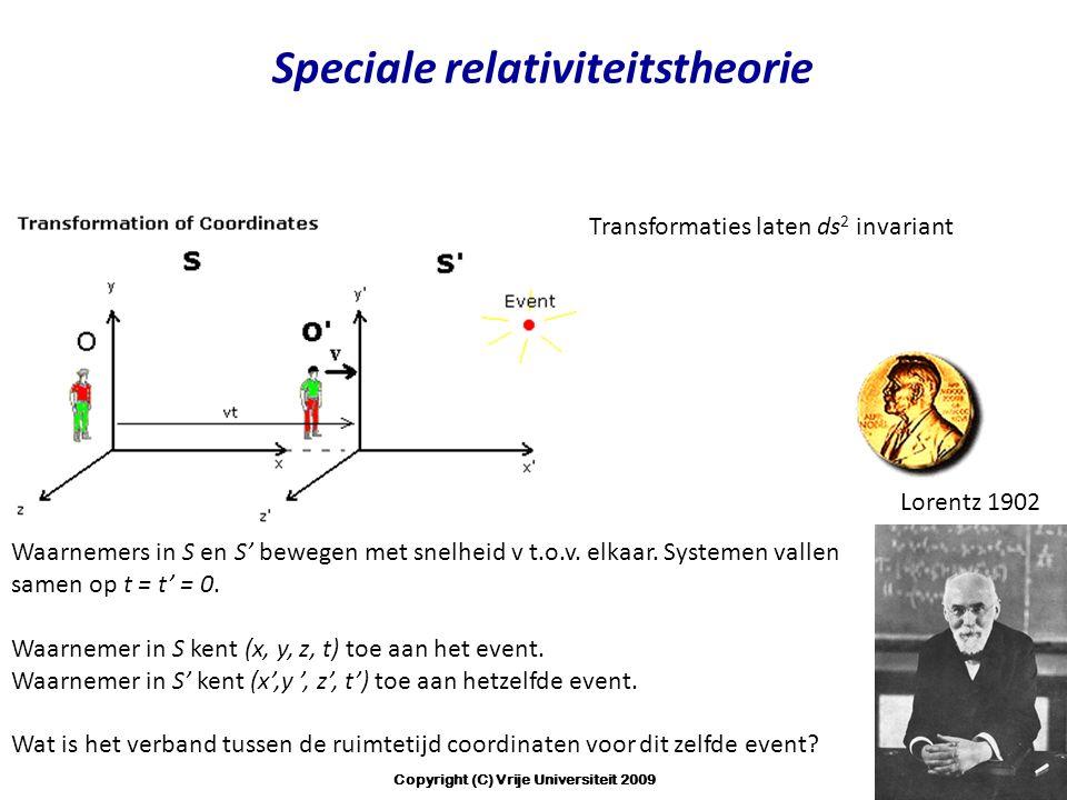 Waarnemers in S en S' bewegen met snelheid v t.o.v. elkaar. Systemen vallen samen op t = t' = 0. Waarnemer in S kent (x, y, z, t) toe aan het event. W