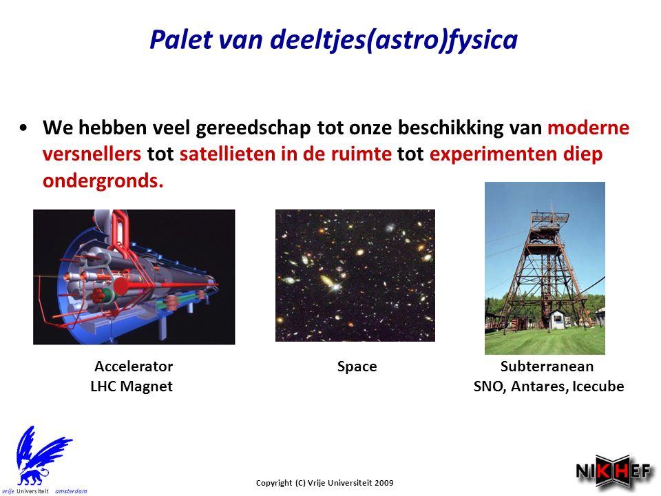 Copyright (C) Vrije Universiteit 2009 Palet van deeltjes(astro)fysica We hebben veel gereedschap tot onze beschikking van moderne versnellers tot satellieten in de ruimte tot experimenten diep ondergronds.