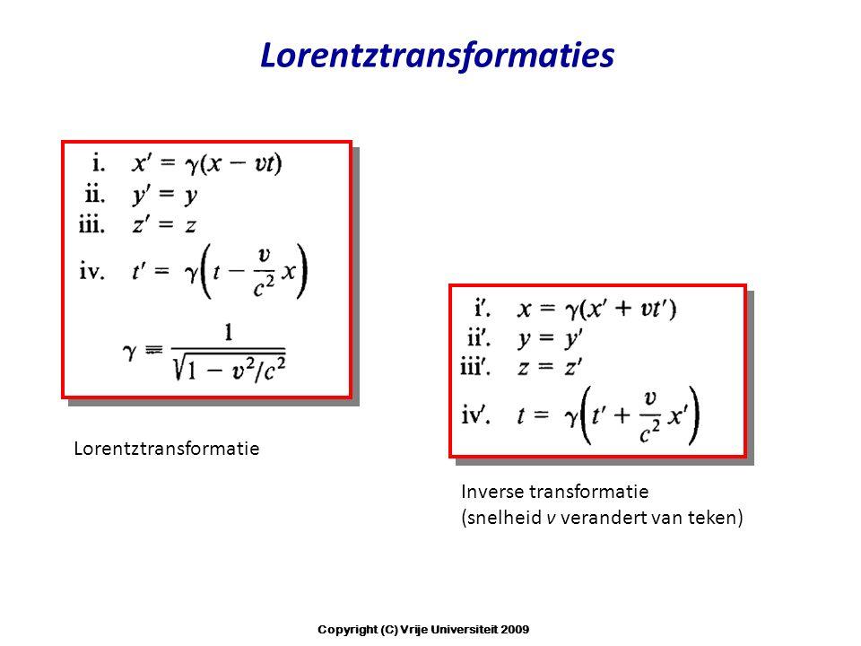 Lorentztransformaties Inverse transformatie (snelheid v verandert van teken) Lorentztransformatie Copyright (C) Vrije Universiteit 2009