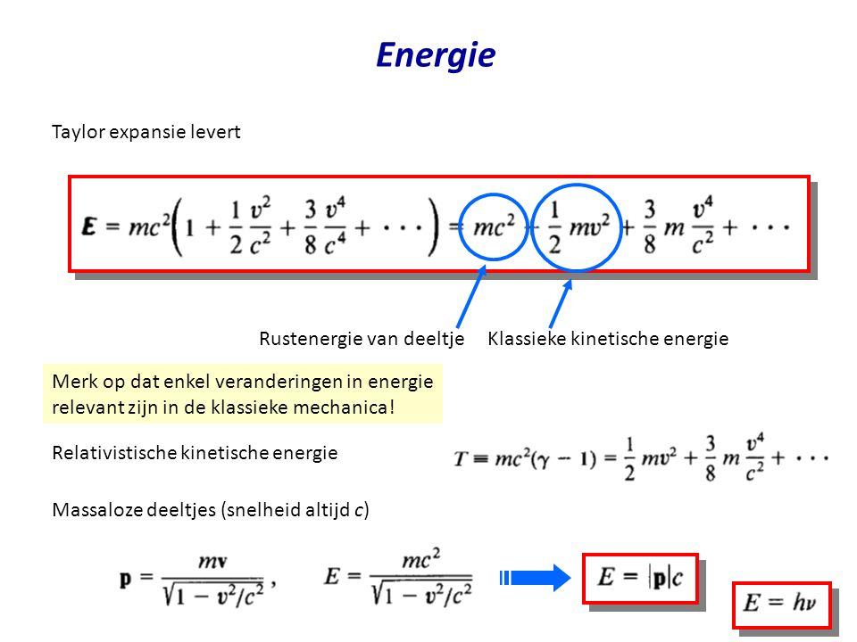 Energie Taylor expansie levert Rustenergie van deeltje Klassieke kinetische energie Merk op dat enkel veranderingen in energie relevant zijn in de klassieke mechanica.