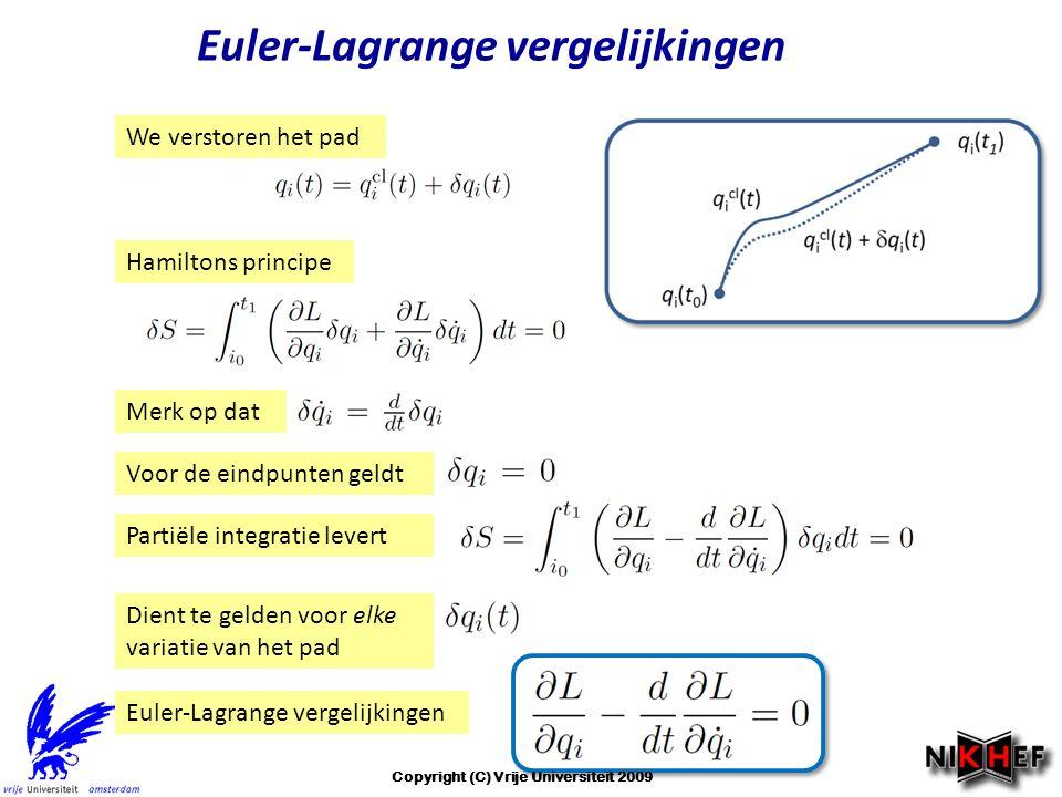 Euler-Lagrange vergelijkingen We verstoren het pad Hamiltons principe Merk op dat Voor de eindpunten geldt Partiële integratie levert Dient te gelden voor elke variatie van het pad Euler-Lagrange vergelijkingen Copyright (C) Vrije Universiteit 2009