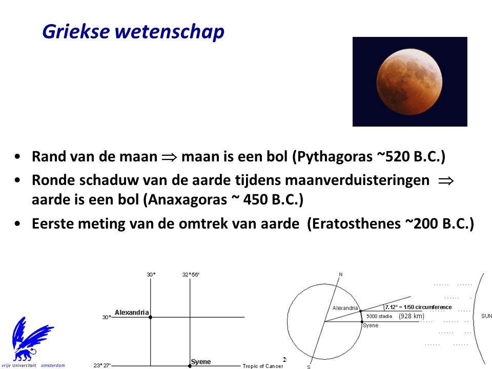 Griekse wetenschap Rand van de maan  maan is een bol (Pythagoras ~520 B.C.) Ronde schaduw van de aarde tijdens maanverduisteringen  aarde is een bol (Anaxagoras ~ 450 B.C.) Eerste meting van de omtrek van aarde (Eratosthenes ~200 B.C.) (928 km)
