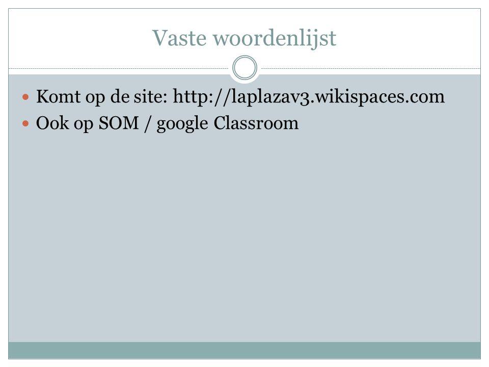 Vaste woordenlijst Komt op de site : http://laplazav3.wikispaces.com Ook op SOM / google Classroom