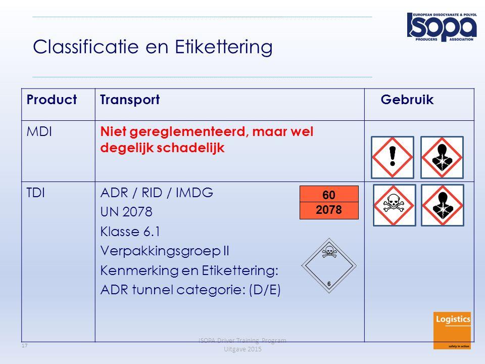 ISOPA Driver Training Program Uitgave 2015 17 Classificatie en Etikettering ProductTransport Gebruik MDI Niet gereglementeerd, maar wel degelijk schad