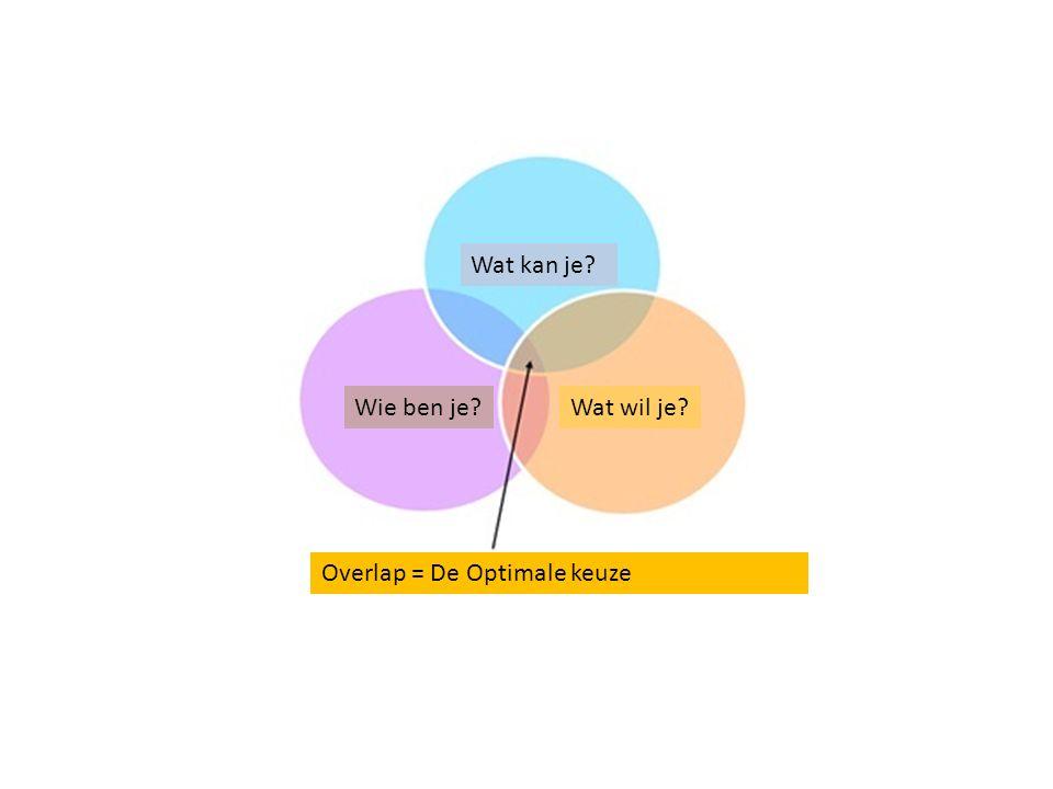 Wat kan je? Wie ben je?Wat wil je? Overlap = De Optimale keuze
