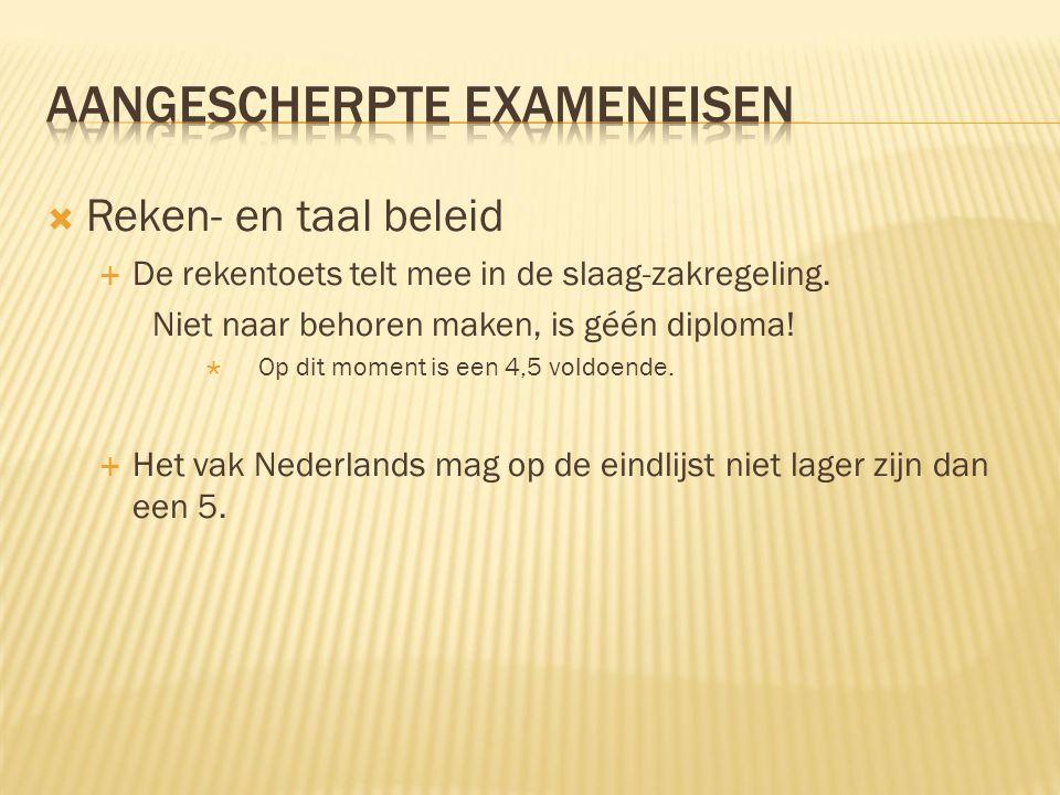  Reken- en taal beleid  De rekentoets telt mee in de slaag-zakregeling.