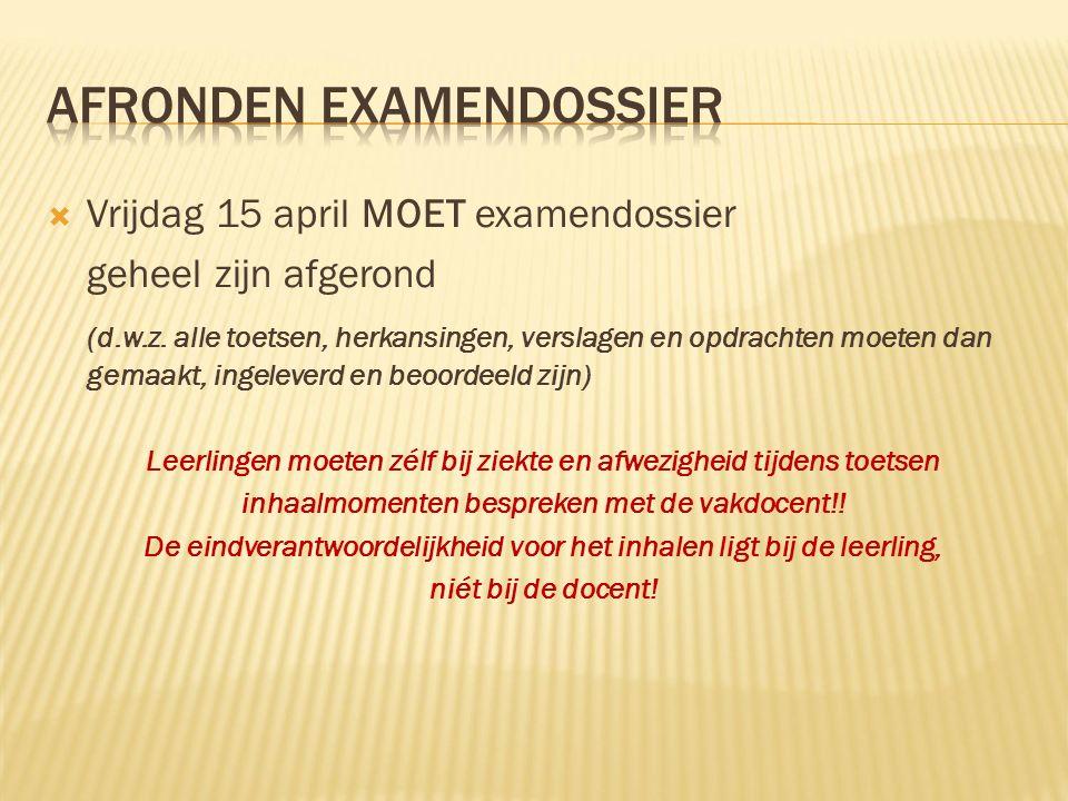  Vrijdag 15 april MOET examendossier geheel zijn afgerond (d.w.z.