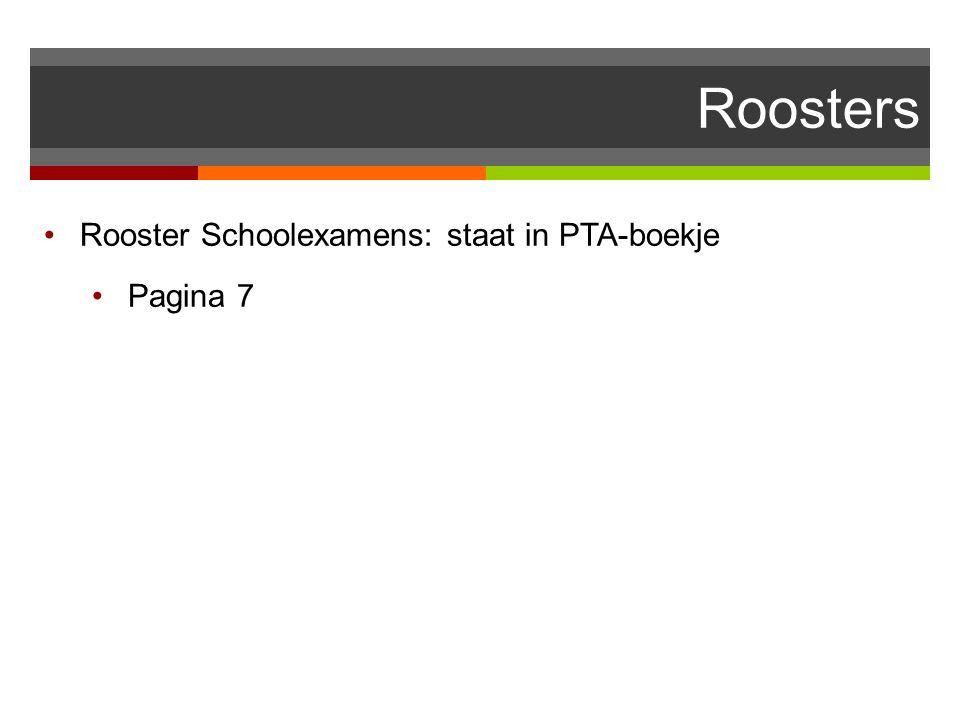 Rooster Schoolexamens: staat in PTA-boekje Pagina 7