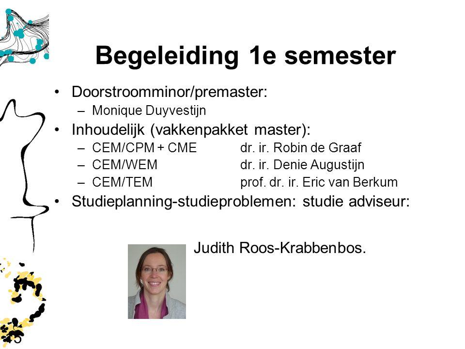 15 Begeleiding 1e semester Doorstroomminor/premaster: –Monique Duyvestijn Inhoudelijk (vakkenpakket master): –CEM/CPM + CMEdr. ir. Robin de Graaf –CEM