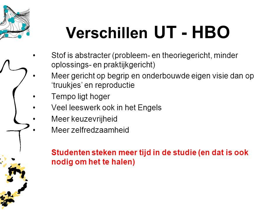 8 Verschillen UT - HBO Stof is abstracter (probleem- en theoriegericht, minder oplossings- en praktijkgericht) Meer gericht op begrip en onderbouwde e