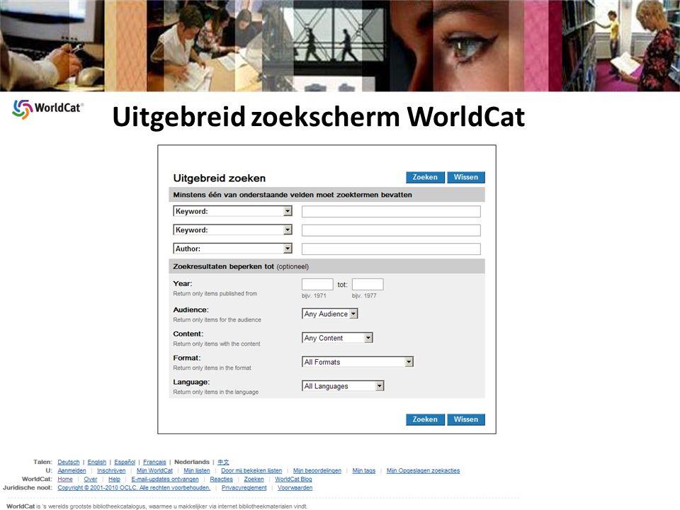 Uitgebreid zoekscherm WorldCat