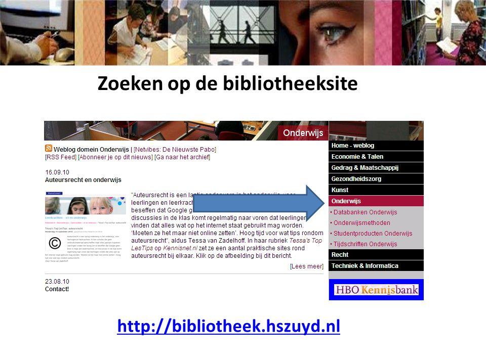 http://bibliotheek.hszuyd.nl Zoeken op de bibliotheeksite