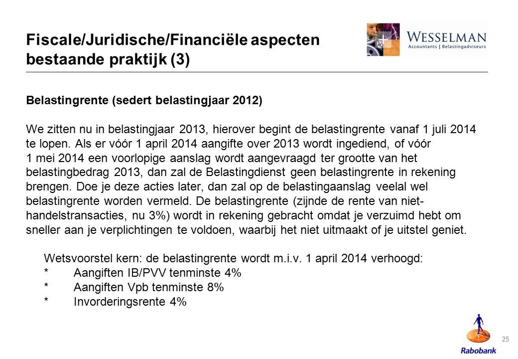 Fiscale/Juridische/Financiële aspecten bestaande praktijk (3) Belastingrente (sedert belastingjaar 2012) We zitten nu in belastingjaar 2013, hierover