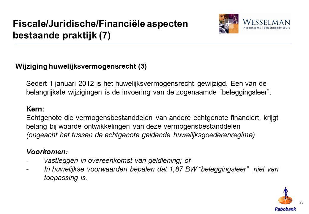 29 Fiscale/Juridische/Financiële aspecten bestaande praktijk (7) Wijziging huwelijksvermogensrecht (3) Sedert 1 januari 2012 is het huwelijksvermogens