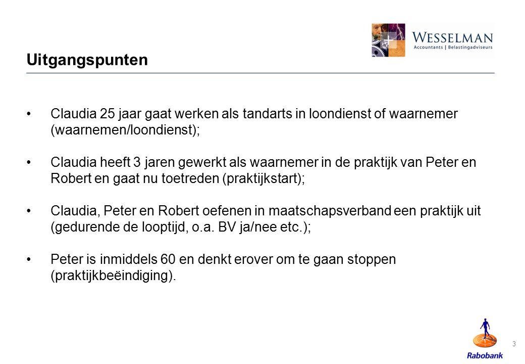 Loopbaan Tandarts 34 HuidigeOpleiding Overbrugging/ situatiekinderen pensioen Leven 2013 Inkomen/ Uitgaven Salaris/ Winst Huur, rente, dividend, Lijfrenten, kapitaalverzekeringen Wonen Vermogen Sparen, Beleggen etc.