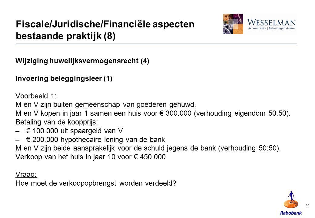 30 Fiscale/Juridische/Financiële aspecten bestaande praktijk (8) Wijziging huwelijksvermogensrecht (4) Invoering beleggingsleer (1) Voorbeeld 1: M en